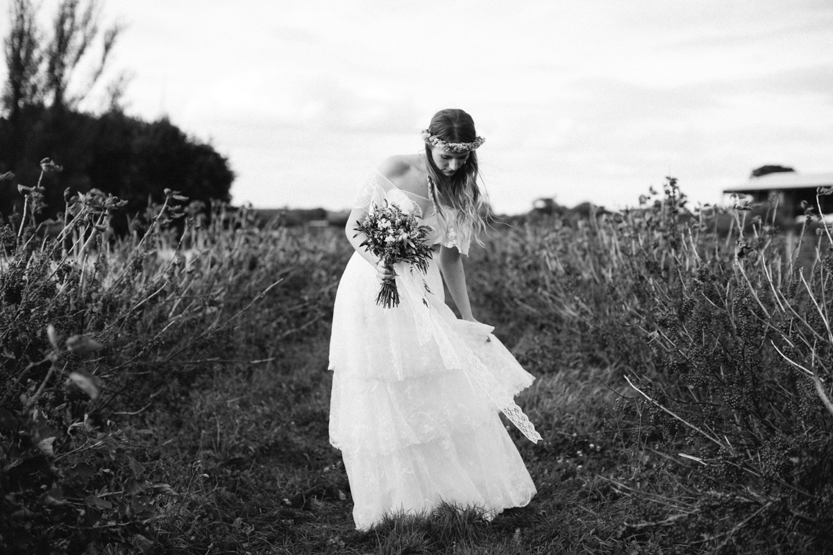 Bride in a field - Country Wedding
