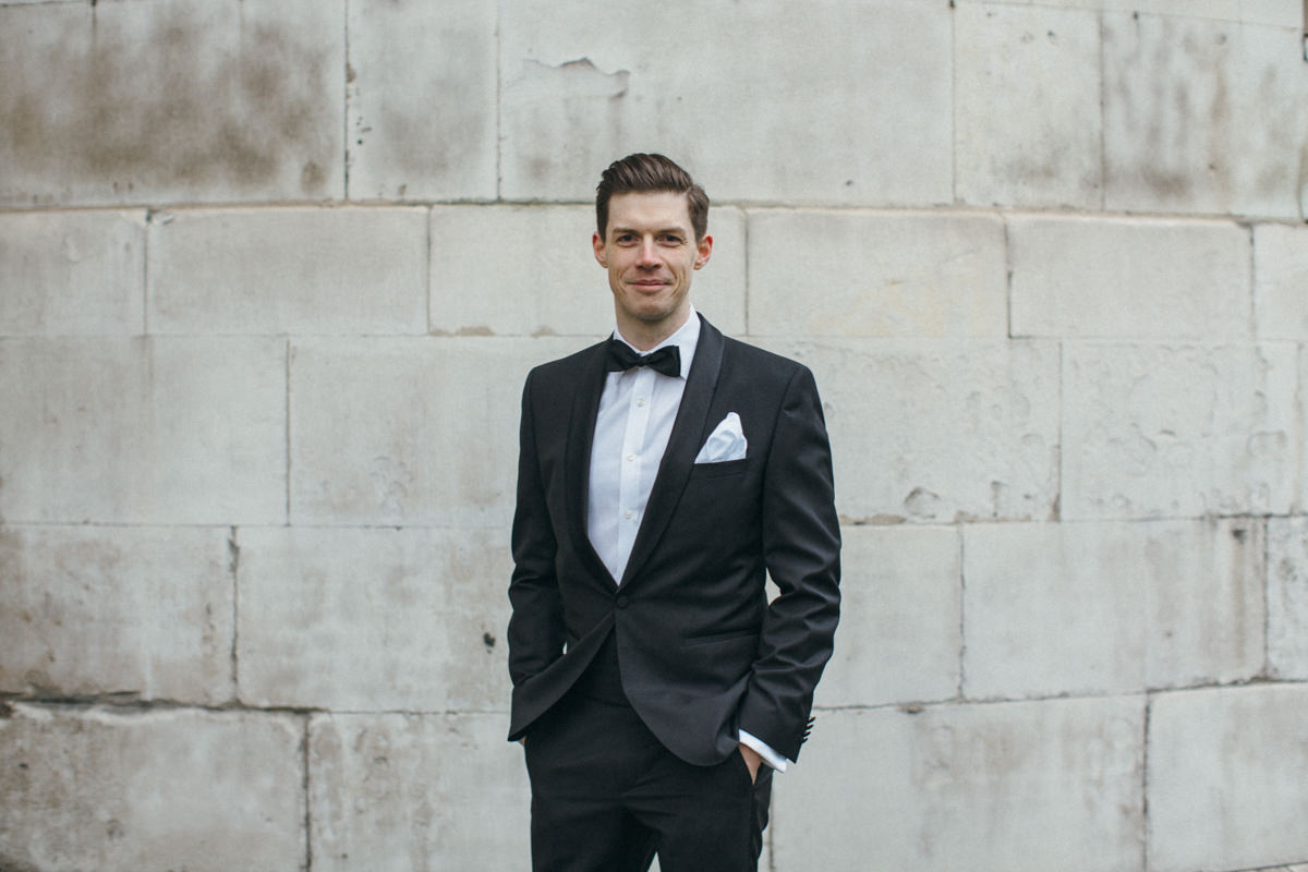 Wedding photographer London groom portraits